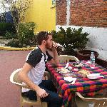  Sushi lunch on the terrace at Hostel Galeria