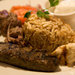 Delicious mixed grill platter of lamb kebab,chicken and beef