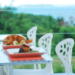 Some dishes (Outdoor dining with a spectacular view)