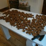 A fresh batch of fudge waiting to go on sale