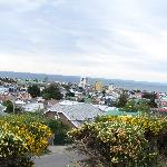 Colorful Punta Arenas and Straights of Magellan vista from Lange tour