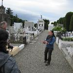 our guide taking us through the cemetery