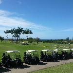 Golf buggies all lined up for the second day of our Pro-Am tournament