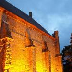 The Tithe Barn by night