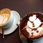 Our butterfly latte and snowman hot chocolate