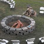 the fire pit in the backyard
