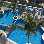 view of pool from our balcony!