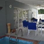 Patio with splash pool