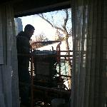 Worker outside our 4th floor window