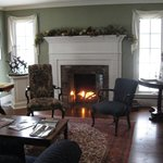 Main house sitting room with fireplace.