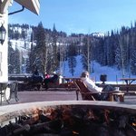 relaxing fire pit for those taking a break from skiing!