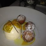 the blood orange ricotta fritters with vanilla semfreddo