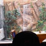  taken in the restaurant...a view of the waterfall feature that falls into the pool below.