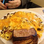 A Huge plate of food. Their signature Scrambler