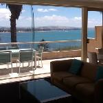 View from apartment over 106 over Encounter Bay across to Victor Harbor.