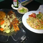  Hind Mamposteao with rice and salad with steamed vegetables Conch. Delicious!