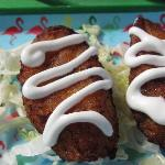 Fried plantains with sour cream on top