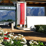 Entrance to the Winery Plaza, Overlooking the vineyards with the Groot Drakenstein Mountains in