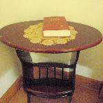 bedside table with bible
