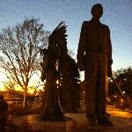 Campus Statue at Dusk Celebrating Afro-American Firsts