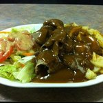 Hot Beef Dinner with salad and the amazing Home Fries!
