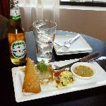 Bangus springroll and Apple San Miguel from the restaurant, Asaya.