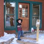 Our little cowboy at the front door