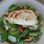  Grilled Greek style Mahi Mahi over spinach with feta