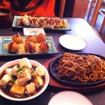 Appetizer, hot food and sushi