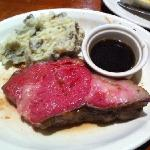 prime rib with mashed potatoes