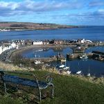 Stonehaven Harbour from cliff top walk to Dunotter Castle