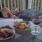 Wine and cheese on the deck