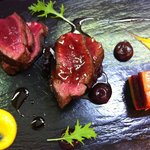 Venison with liquorice poivrade, black cherry, root vegetable