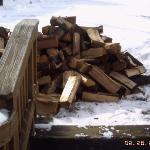"""O.K. Daryll, drop the firewood here.""  But won't that block the stairs? ""Hey, not our problem."""