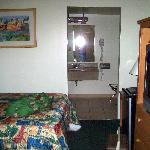 Our room with 2 comfortable double beds & a refrigerator we hadn't expected.  HBO & Nickelodeon,