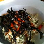 Yummy noodle dish with seaweed crisps on top!