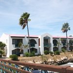 view of the junior suites laguna from the marina bridge at the Plaza Beach Resort