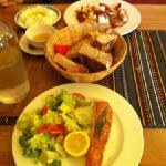 grilled salmon, home-baked bread, chicken tiguana, tzatziki