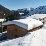 Hotel from the back where you get on the ski slopes