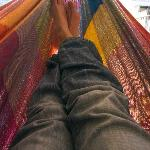  Relaxing in the rooftop hammock