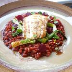 Brill & beetroot brisotto