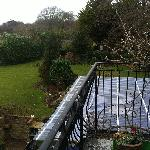 The side view from our balcony, overseeing the garden