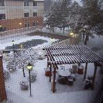 The courtyard view from our room after a little snow