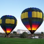 Two of our balloons prepare for a liftoff just prior to sunrise!
