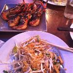  pad thai and grilled prawns