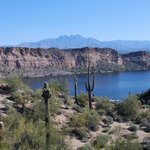 A view of Saguaro lake from horseback.