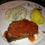 Meatloaf, mashed potatoes and squash casserole.  Tasty
