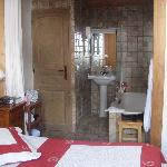 Bathroom view - you can close curtain but we loved the open plan (toilet is seperate with door)