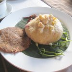 Interesting looking Shan rice(?) cake with a fish 'cracker' - bit of an acquired taste!