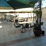 Central courtyard with table and chairs.